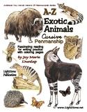 """Exotic Animals"" Cursive Penmanship A-Z"
