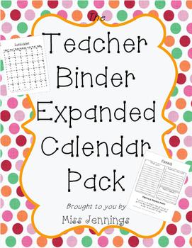 **Expanded** Teacher Binder Calendar Templates