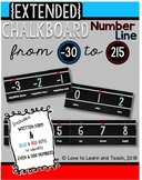 {Extended} Chalkboard Number Line (-30 to 215) with Number Names {Blue & Red}