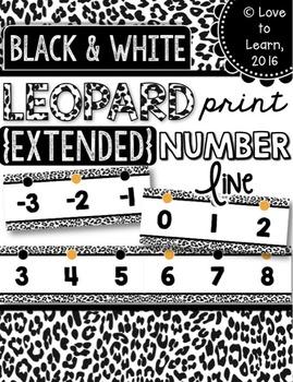 {Extended} Number Line (-30 - 215) - Black & White Leopard Print