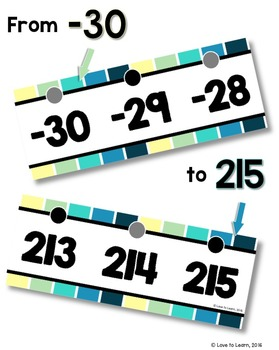 {Extended} Number Line (-30 - 215) - Cool Shades Vertical Stripes
