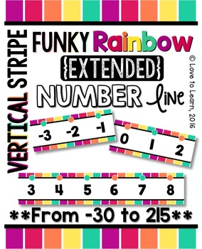{Extended} Number Line (-30 - 215) - Funky Rainbow Vertical Stripes