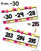 {Extended} Number Line (-30 - 215) - Pink, Orange & Yellow Vertical Stripes