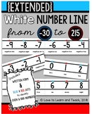 {Extended} White Number Line (-30 to 215) with Number Names {Blue & Red}
