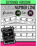 {Extended} White Number Line (-30 to 215) with Number Names {Green & Pink}