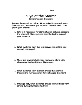 """""""Eye of the Storm"""" Comprehension Questions (Scott Foresman Reading Street)"""