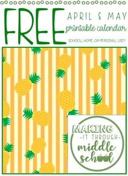 F R E E Printable Planner April May 2019 By Making It Through