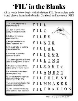 'FIL' in the Blanks word puzzle worksheet