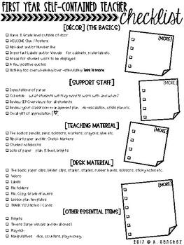 [FIRST YEAR] Self-Contained Teacher *Checklist* [FREEBIE]