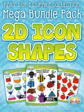2D Icon Shapes Clipart Mega Bundle Part 1 — Includes 200 G
