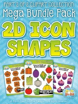 2D Icon Shapes Clipart Mega Bundle Part 2 {Zip-A-Dee-Doo-Dah Designs}
