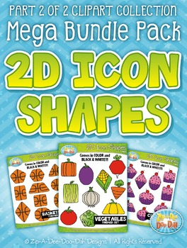 2D Icon Shapes Clipart Mega Bundle Part 2 — Includes 200 G