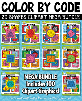 2D Shapes Color By Code Clipart Mega Bundle {Zip-A-Dee-Doo-Dah Designs}