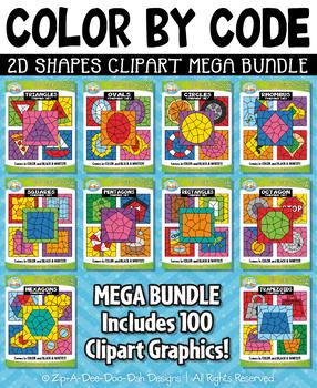 2D Shapes Color By Code Clipart Mega Bundle {Zip-A-Dee-Doo-Dah Designs}