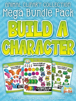 Animal Build-A-Character Clipart Mega Bundle {Zip-A-Dee-Doo-Dah Designs}