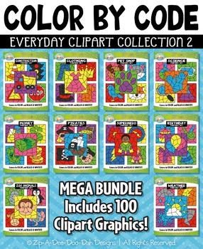 Color By Code Clipart Mega Bundle Collection 2