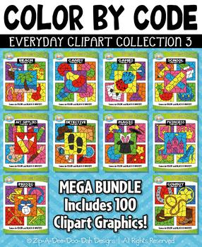 Color By Code Clipart Mega Bundle Collection 3