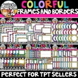 **FLASH DEAL- Colorful Frames and Borders Clipart Bundle {