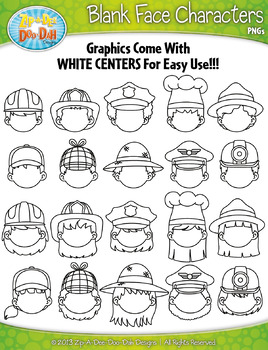 Community Members Blank Face Clipart {Zip-A-Dee-Doo-Dah Designs}