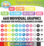 Digital Game Icon Buttons Directional Labels Clipart {Zip-