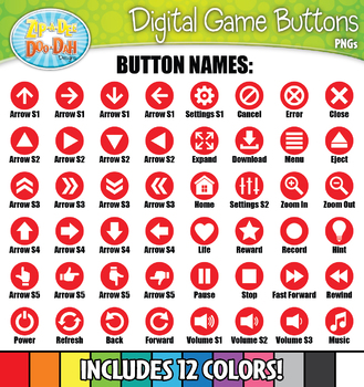 Digital Game Icon Buttons Directional Labels Clipart {Zip-A-Dee-Doo-Dah Designs}
