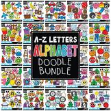 {FLASH DEAL}  Doodle Alphabet Letters Clipart Mega Bundle (Includes A-Z)