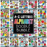 Doodle Alphabet Letters Clipart Mega Bundle (Includes A-Z)