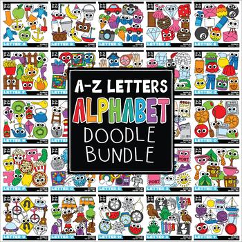 Doodle Alphabet Letters Clipart Mega Bundle (Includes A-Z)