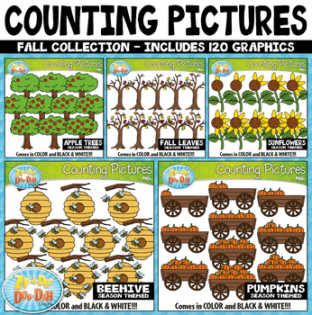 Fall Math Counting Pictures Clipart Mega Bundle