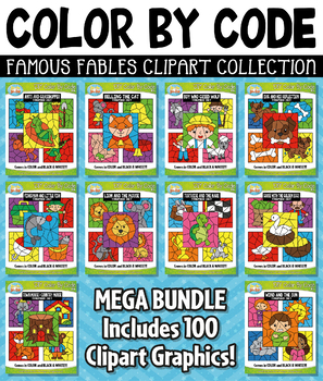{FLASH DEAL} Famous Fables Color By Code Clipart Mega Bundle Collection