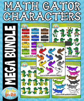 Math Gator Characters Mega Bundle — Over 100 Graphics!