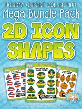 Holiday 2D Icon Shapes Clipart Mega Bundle {Zip-A-Dee-Doo-Dah Designs}
