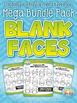 Holiday Blank Face Characters Clipart Mega Bundle {Zip-A-Dee-Doo-Dah Designs}
