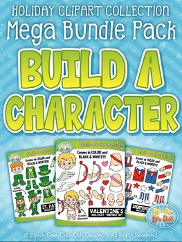 Holiday Build-A-Character Clipart Mega Bundle — Over 200 Graphics!