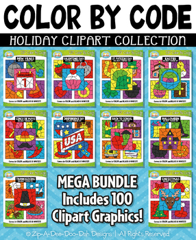 Holiday Color By Code Clipart Mega Bundle Collection