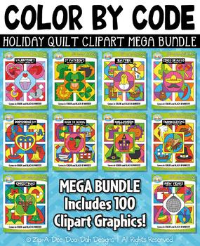 Holiday Quilt Color By Code Clipart Mega Bundle {Zip-A-Dee-Doo-Dah Designs}