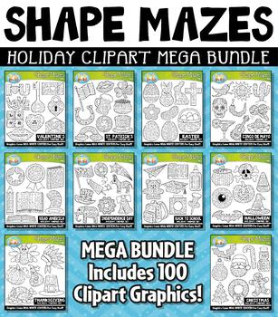{FLASH DEAL} Holiday Shaped Mazes Clipart Mega Bundle