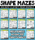 Holiday Shaped Mazes Clipart Mega Bundle