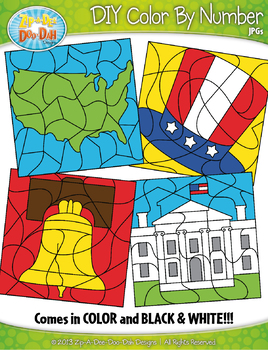 INDEPENDENCE DAY Color By Code Clipart {Zip-A-Dee-Doo-Dah Designs}
