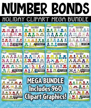 Holiday Number Bonds Clipart Mega Bundle — Includes 960 Graphics!
