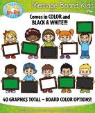 Message Board Kid Characters Clipart {Zip-A-Dee-Doo-Dah Designs}