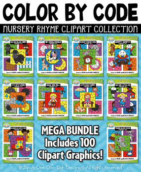 Nursery Rhyme Color By Code Clipart Mega Bundle Collection