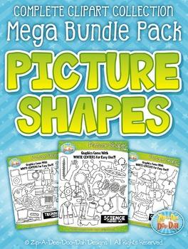 Picture Shapes Clipart Mega Bundle — Includes 200 Graphics!