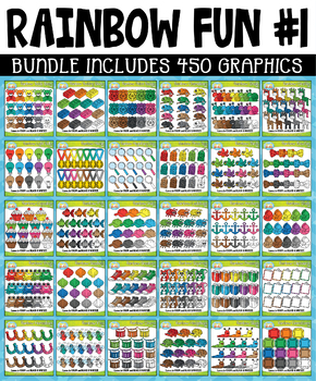 {FLASH DEAL} Rainbow Fun Collection Clipart Bundle #1 (JULY-SEPT)
