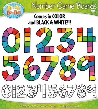 Number Game Boards Clipart {Zip-A-Dee-Doo-Dah Designs}