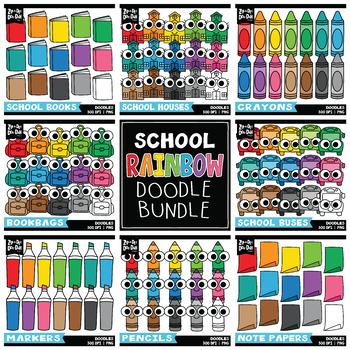 School Rainbow Doodle Clipart Bundle {Zip-A-Dee-Doo-Dah Designs}