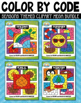 Seasons Color By Code Clipart Mega Bundle