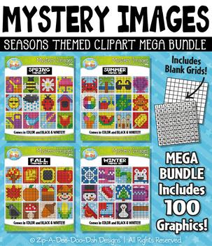 Seasons Mystery Images Clipart Mega Bundle — Includes 100