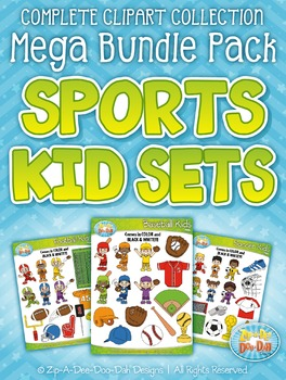 Sports Kid Characters Clipart Mega Bundle Pack — Over 200