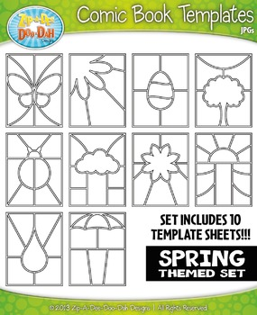 Spring Themed Comic Book Strip Templates Set — Includes 10